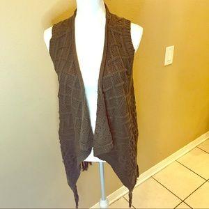 NWT Sonoma Olive Night Cable Knit Fringe Vest Sz L
